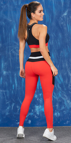 Red sport legging with pocket