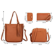Load image into Gallery viewer, 4pcs matching women's fashion shoulder bag PU leather