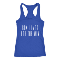 Exercise Box Jump for the win Racerback Next level Tank top Color Royal Blue