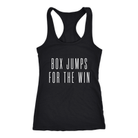 Exercise Box Jump for the win Racerback Next level Tank top Color Black