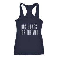 Exercise Box Jump for the win Racerback Next level Tank top Color Navy