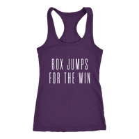 Exercise Box Jump for the win Racerback Next level Tank top Color Purple