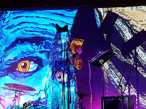 rVb live @ Yarra Hotel, 2017. Projections from her book, On The Rod.