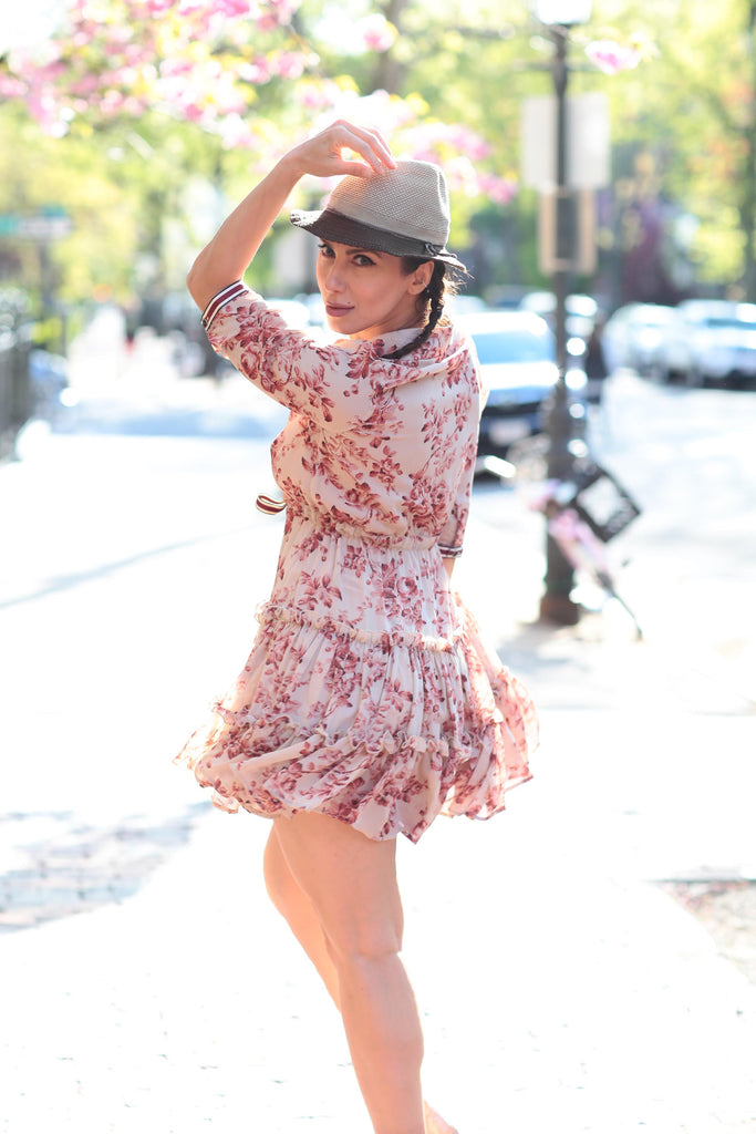 Floral Dress with Ruffle Mini Skirt