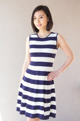 Blue and White Striped Knit Dress