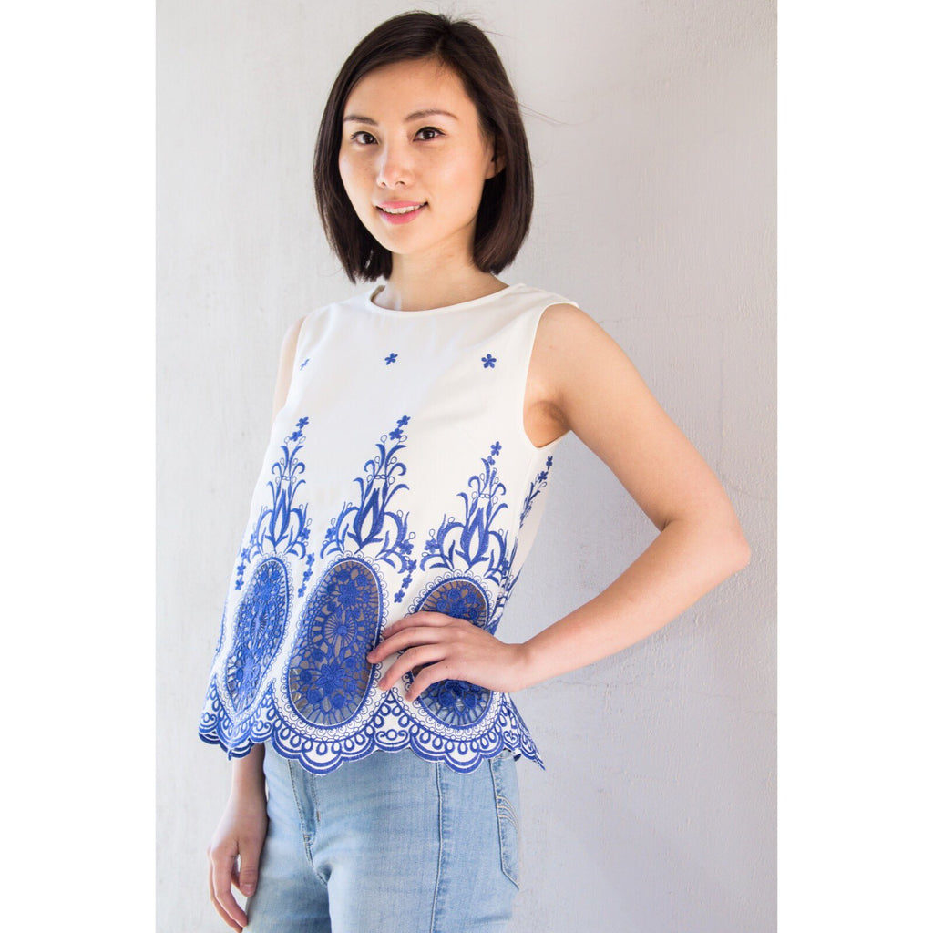 TEST - blue & white top