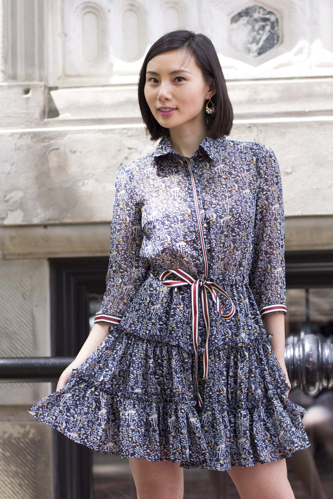3/4 Sleeves Floral Print Button Up Dress with Ruffle Skirt