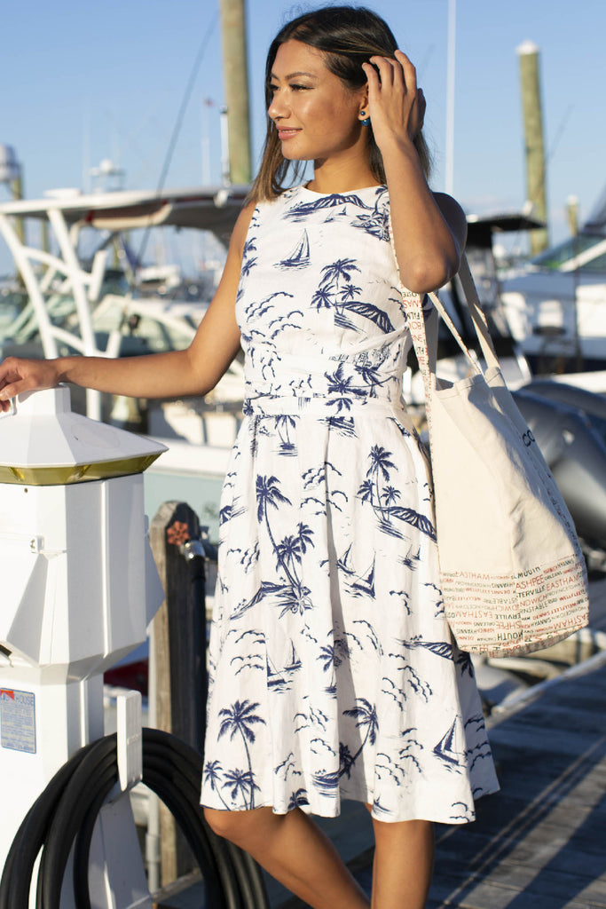 Printed linen wrap dress