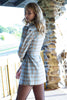 Puffy Sleeves Asymmetrical Plaid Jacket/dress