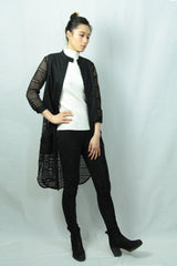 3/4 Sleeves Embroidered Cotton Long Jacket