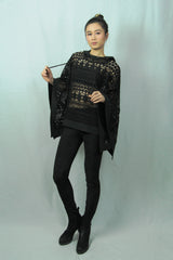 Black Lace Cape with Hood