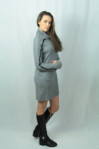 Grey Turtle Neck Tunic with Leather Stripe