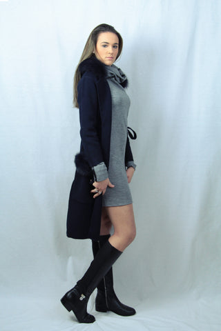 Navy Mink Cashmere Coat with Fur Pockets