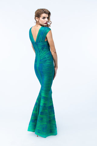 Metallic Cap Sleeve Bandage Gown