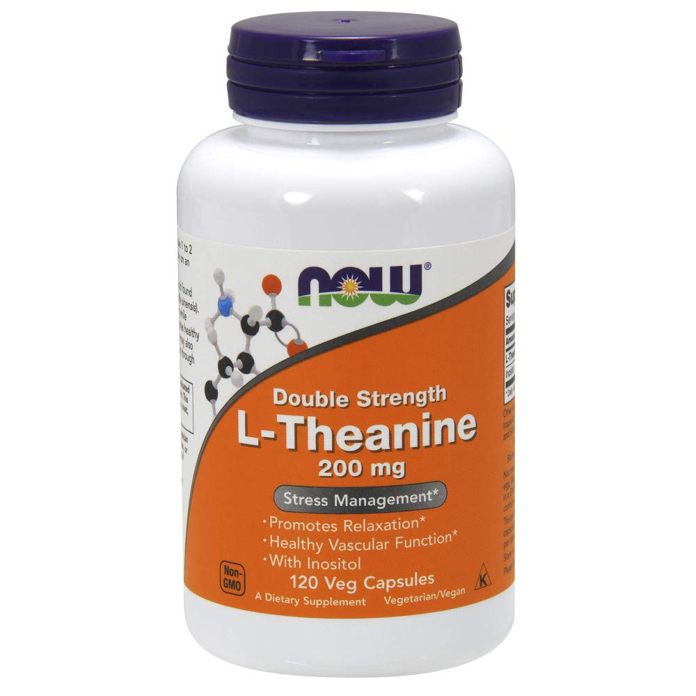 NOW® Foods L-Theanine, 200 mg, 120 Veg Caps