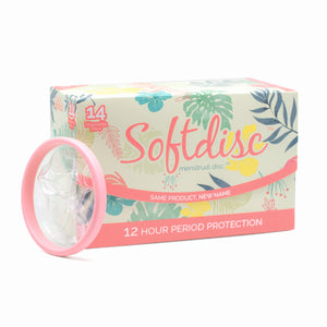 SOFTDISC - Menstrual Discs - Non-Reusable, Disposable Softcups - Enjoy up to 12 Hours of Protection - Fewer Period Cramps, Tampon and Menstrual Cup Alternative for Active Women 14 Disc Per Box