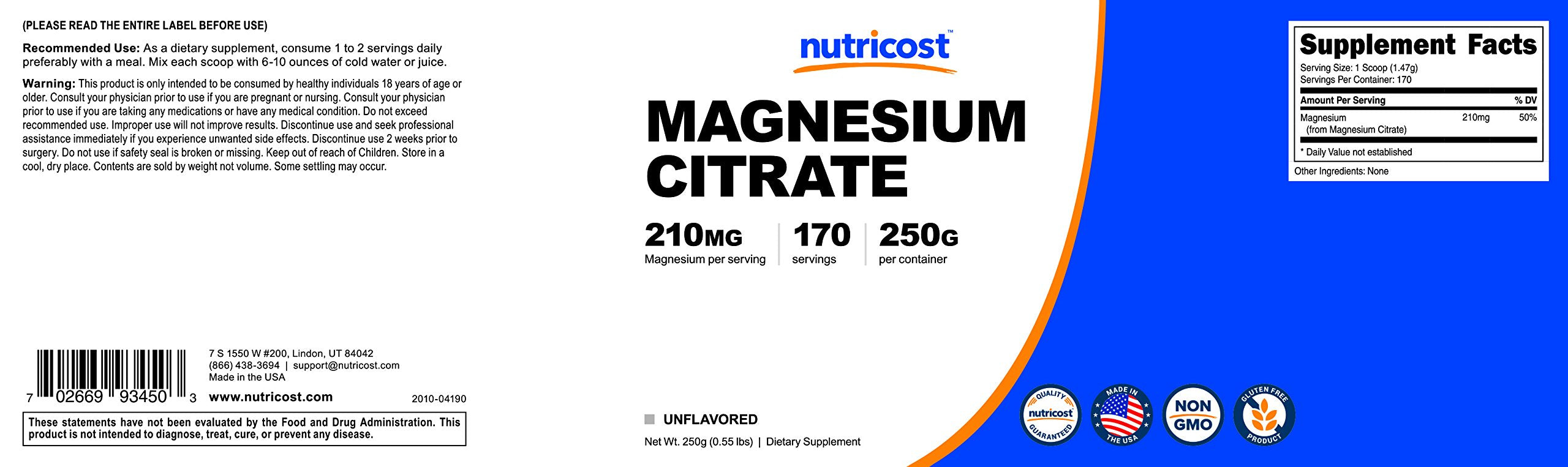 Nutricost Magnesium Citrate Powder (250 Grams) (Unflavored)