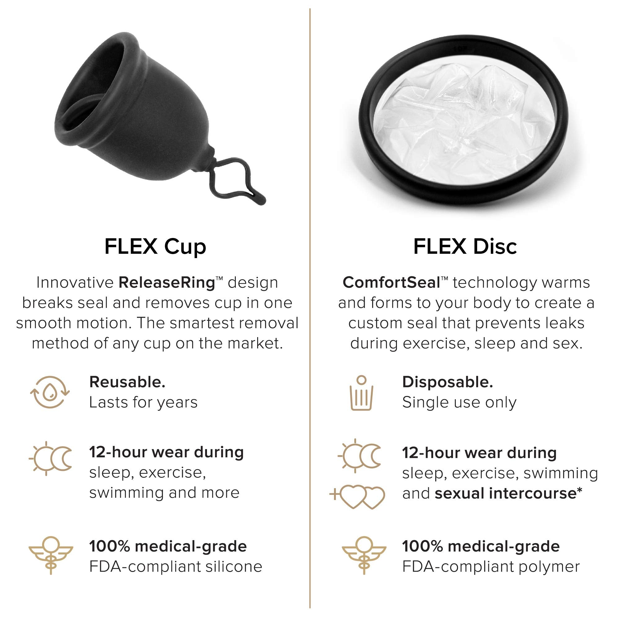 FLEX Menstrual Cup - Loved by All Body Types - Gift w/2 Discs - USA Made - Pull String Design - Soft - Stain Proof - Great for Beginners - Adjustable Stem for Custom Fit - 12 Hour Wear (Full)