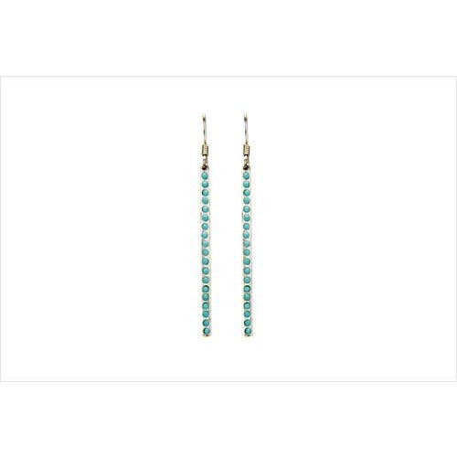 Stone Bar Earrings With Turquoise Crystals