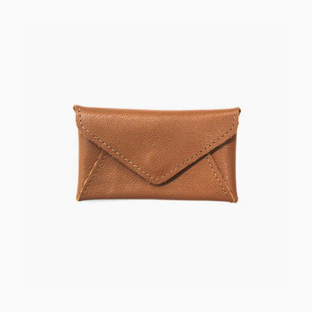 Cognac Envelope Credit Card Wallet