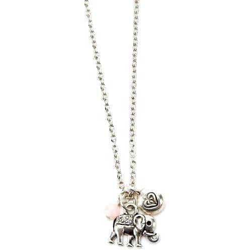 Elephant and Heart Charm Necklace