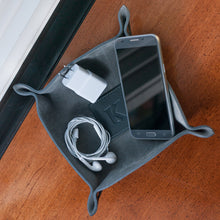 Two Tone Gray Suede and Leather Catchall