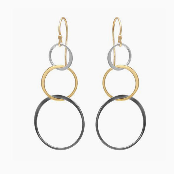 Tri Color Circle Drop Earrings