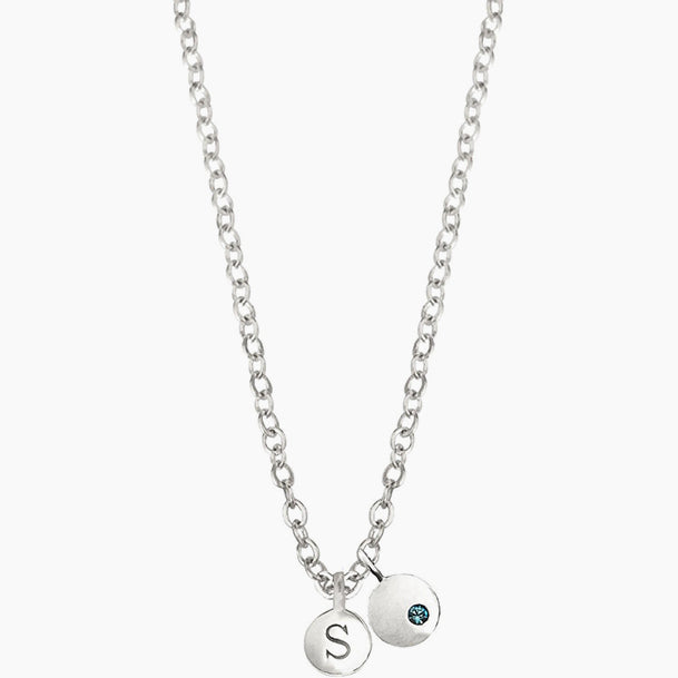 Birthstone with Initial Necklace