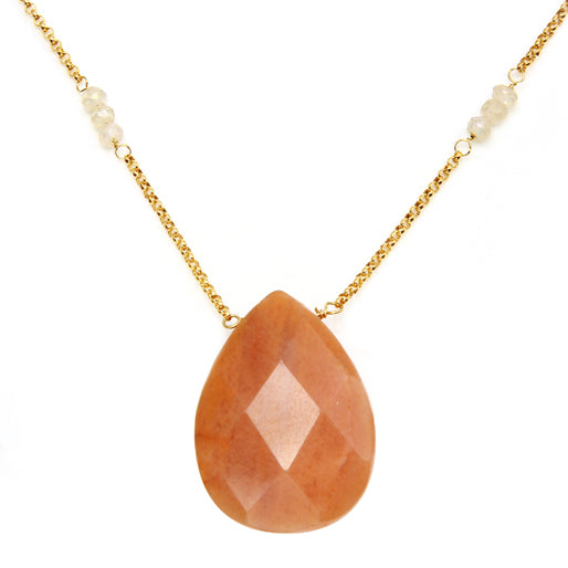 Orange Adventurine and Moonstone Necklace