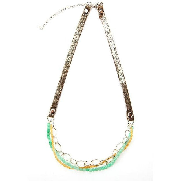 Metallic Suede and Jade Layered Necklace