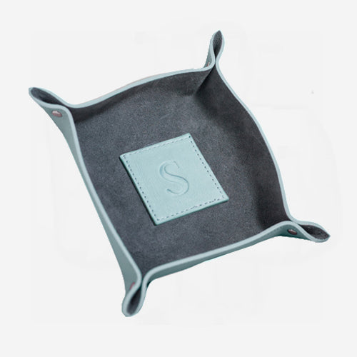 Two Tone Mint Suede and Leather Catchall