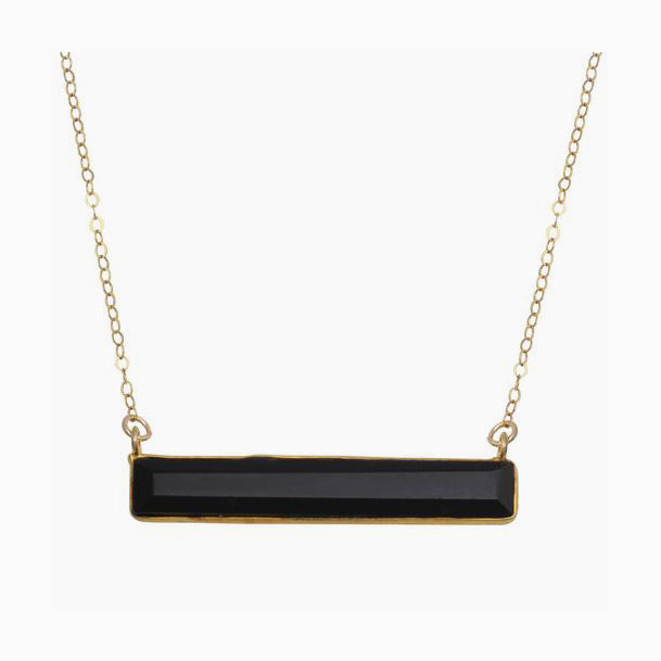 Black Quartz Bar Necklace