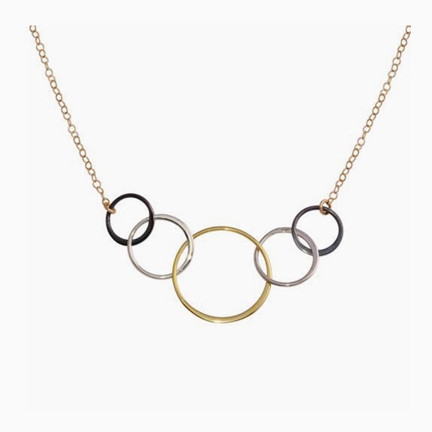 5 Circle Tri Color Necklace
