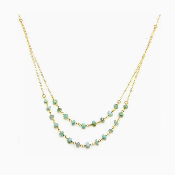 Layered Opal Beaded Necklace