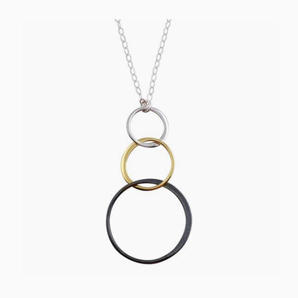 Tri Color Circle Drop Necklace