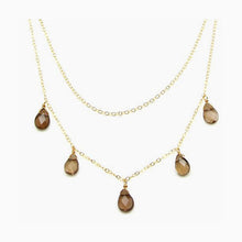 Layered Topaz Drop Necklace