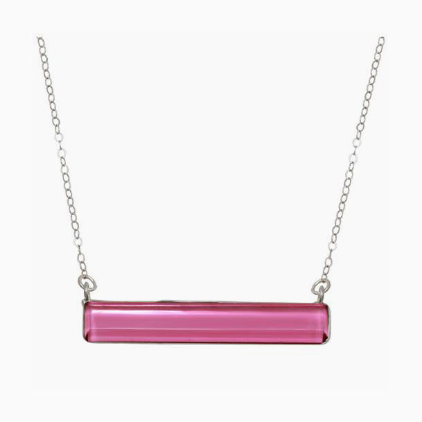 Pink Chalcedony Bar Necklace