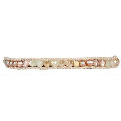 Semi Precious Woven Single Wrap Bracelet