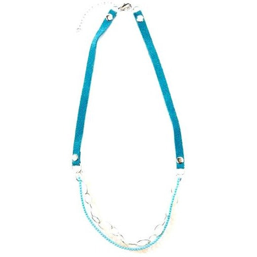 Suede and Turquoise Layered Necklace
