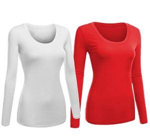 2pk Scoop Neck L/S T-Shirts-Red/Wht