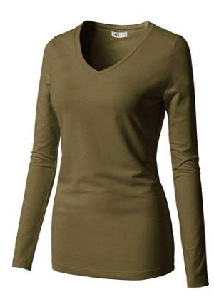 Slim Fit T-Shirts Long Sleeve V Neck