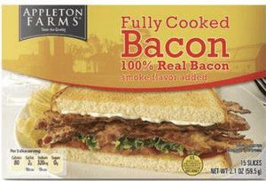 Appleton Farms Fully Cooked Bacon 2.25oz - Wilson Inmate Package Program