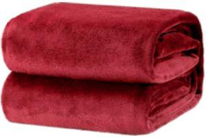 Flannel Fleece Fire Retardant Blanket (Burgundy)