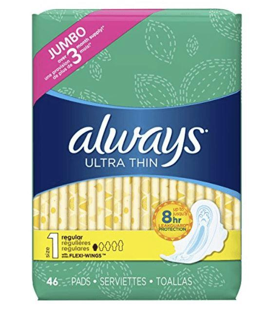 Always Ultra Thin Regular Pads w/ Wings, 46ct