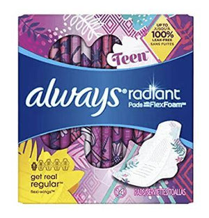 Always Radiant Teen Pads, 14ct - Wilson Inmate Package Program