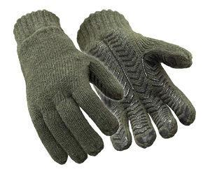 Thinsulate Insulated Fleece Lined 100% Ragg Wool Grip Gloves (Green)