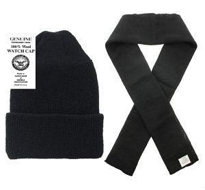 100% Wool Scarf & Wool Hat Watch Cap (2 Piece Set) (Black)