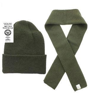 100% Wool Scarf & Wool Hat Watch Cap (2 Piece Set) (Green)