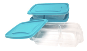 Never Lost 3-Piece Divided Plastic Food Storage Set, 1 Pack