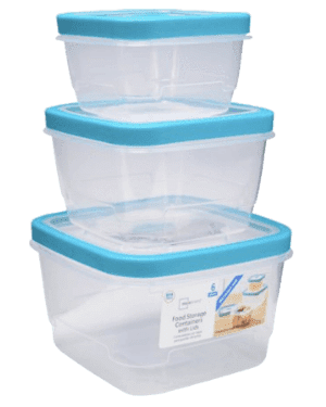 Food Square Storage Containers with Lids, 6 Count (Blue)